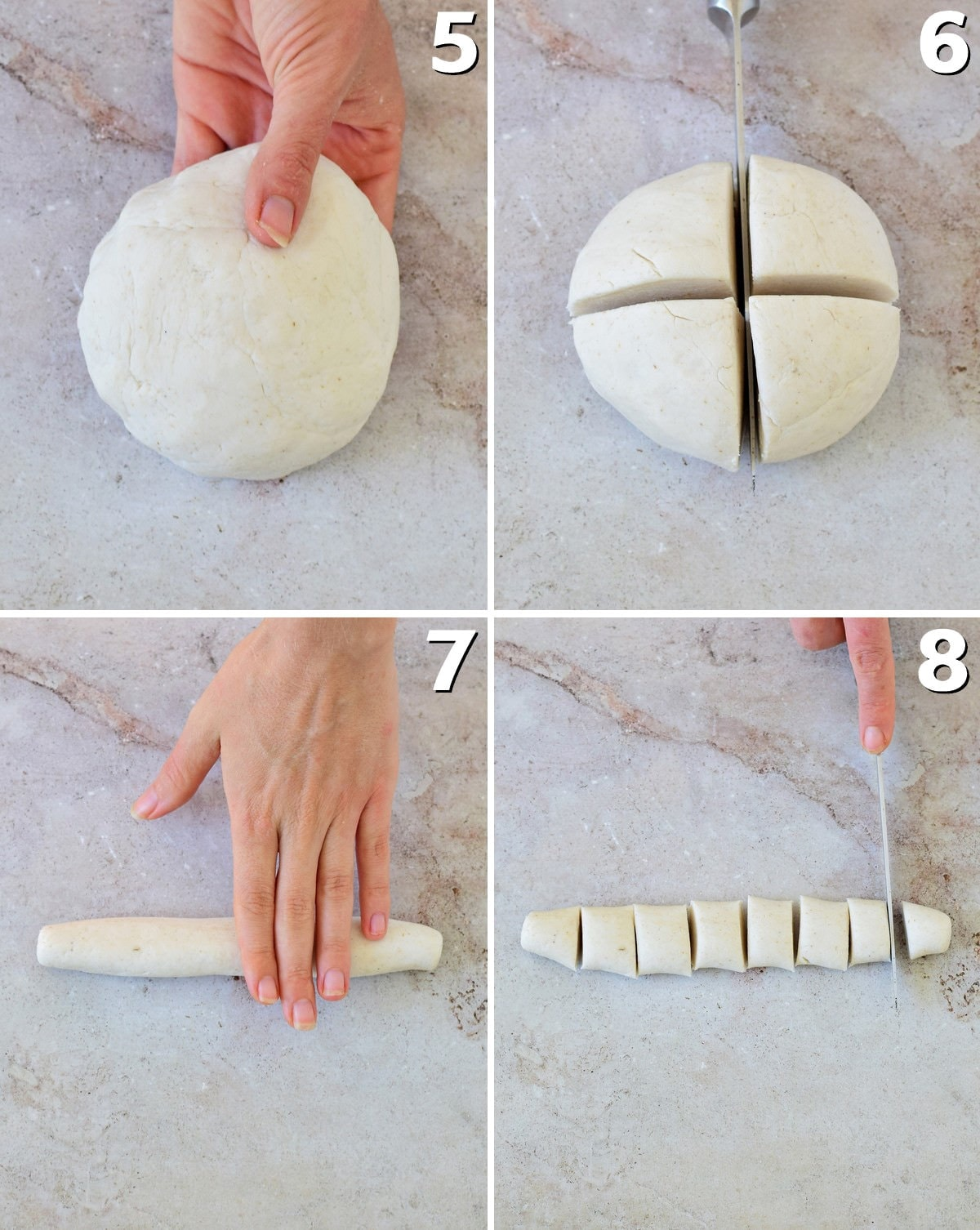 4 step-by-step photos how to divide gluten-free dough for dumplings
