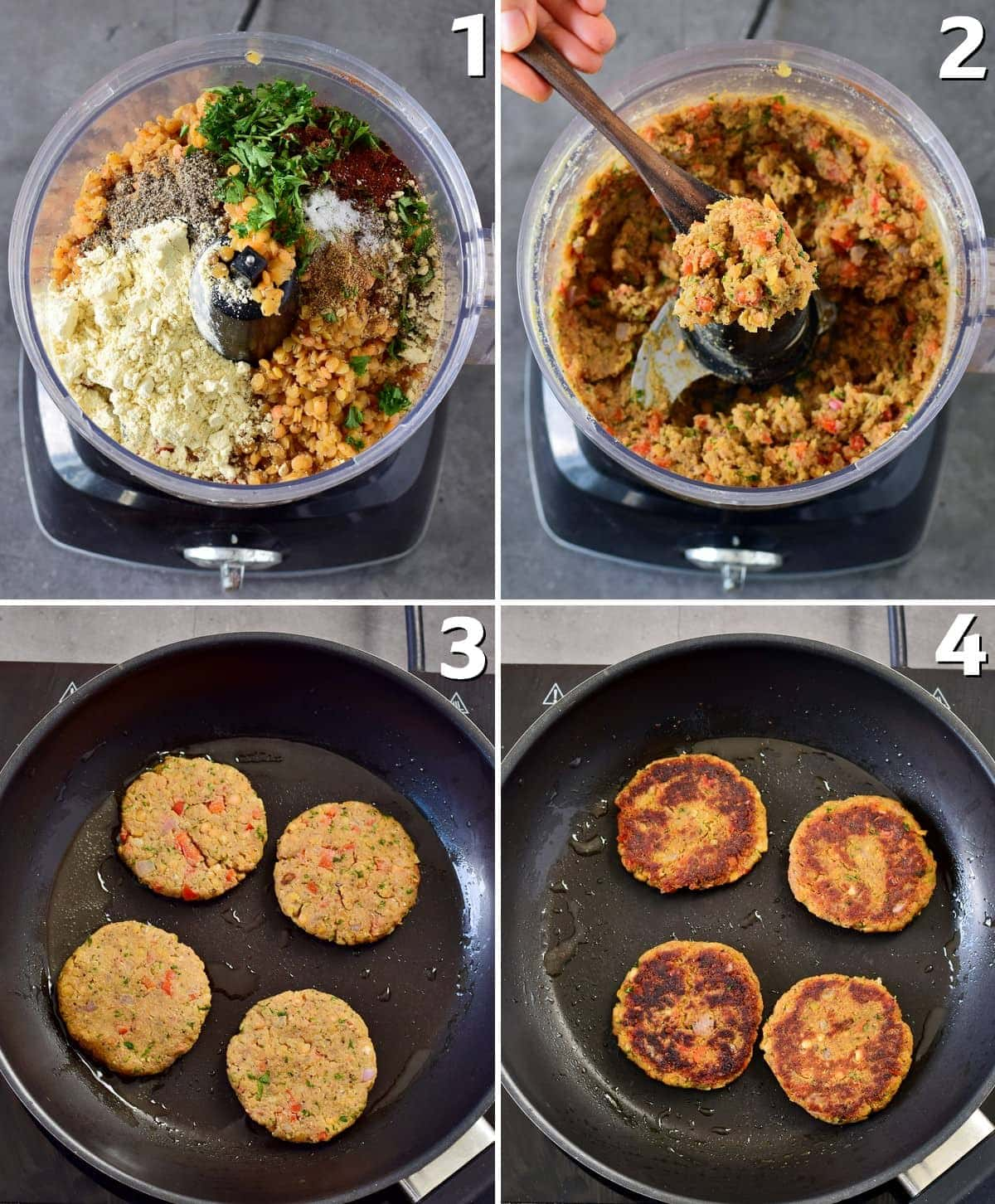 4 step-by-step photos how to mix dough for fritters and cook them in a pan