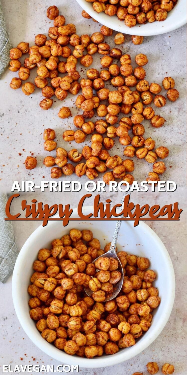 Collage air-fried or roasted crispy chickpeas