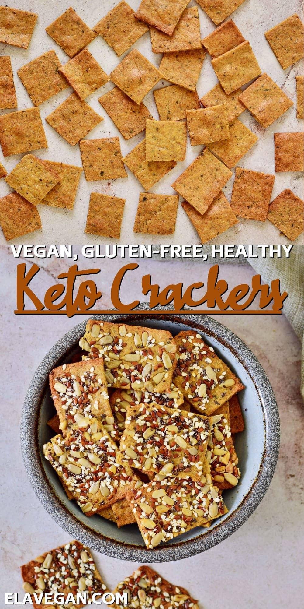 Collage vegan, gluten-free, healthy, keto crackers