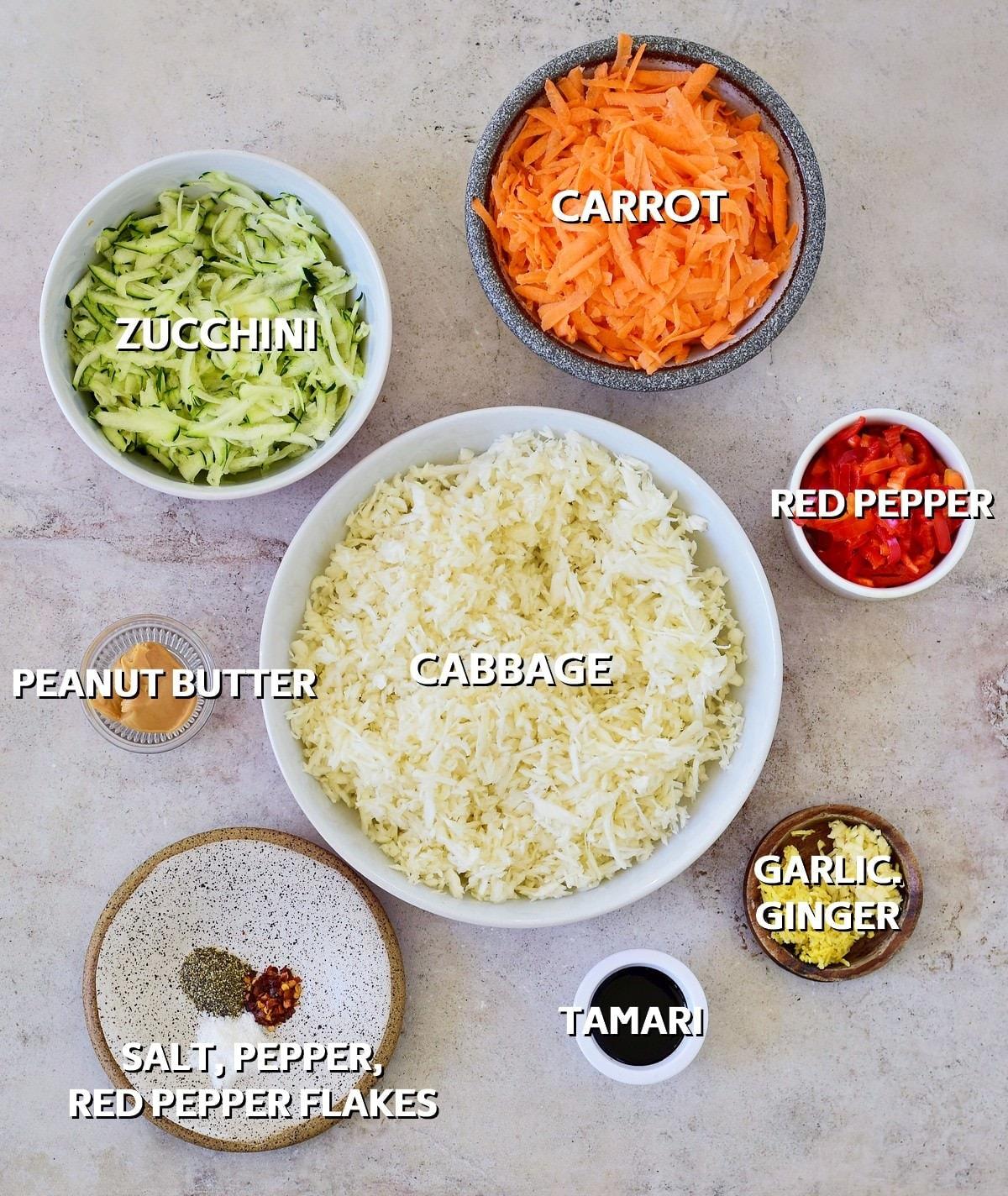 Ingredients for vegetable dumplings