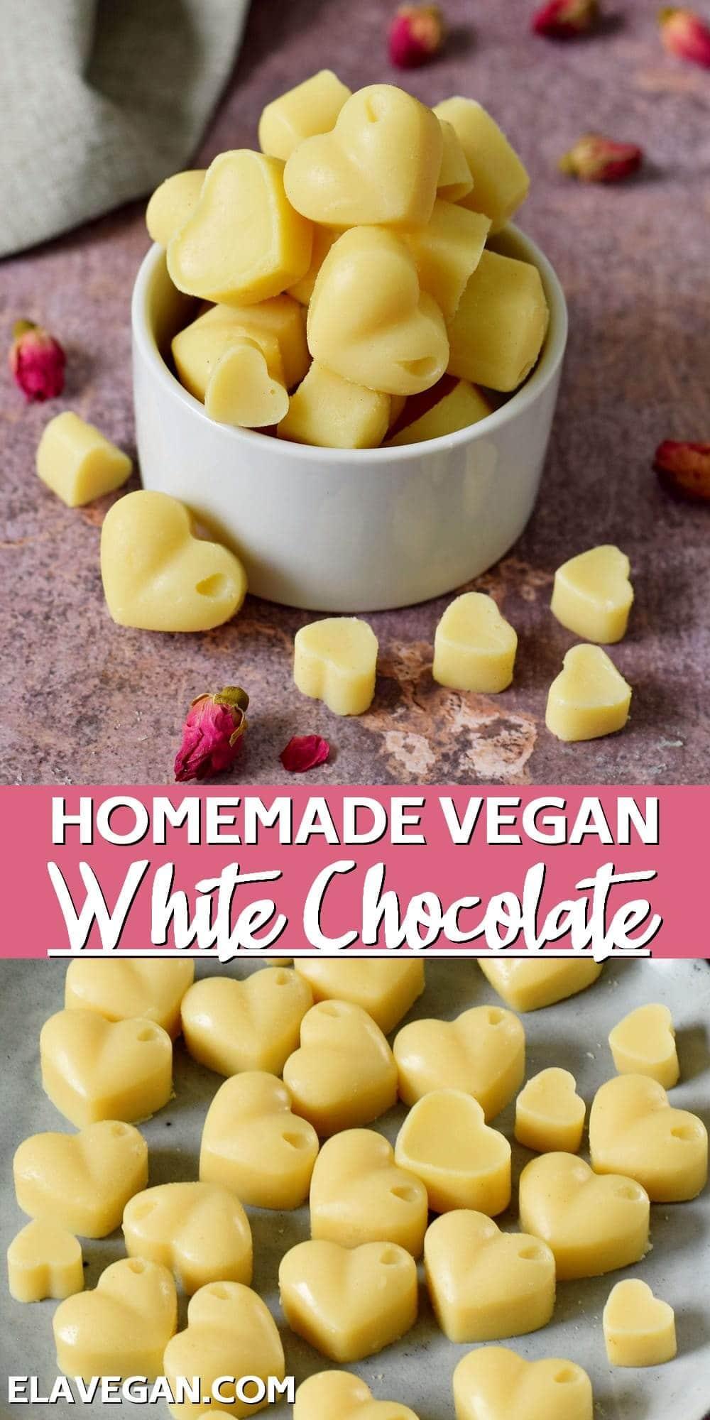 Pinterest collage homemade vegan white chocolate