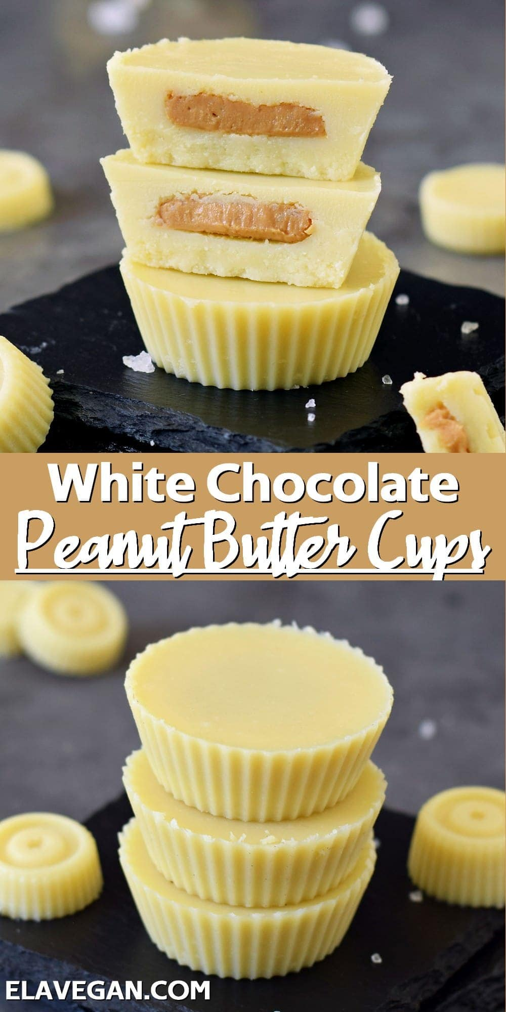 Pinterest collage white chocolate peanut butter cups