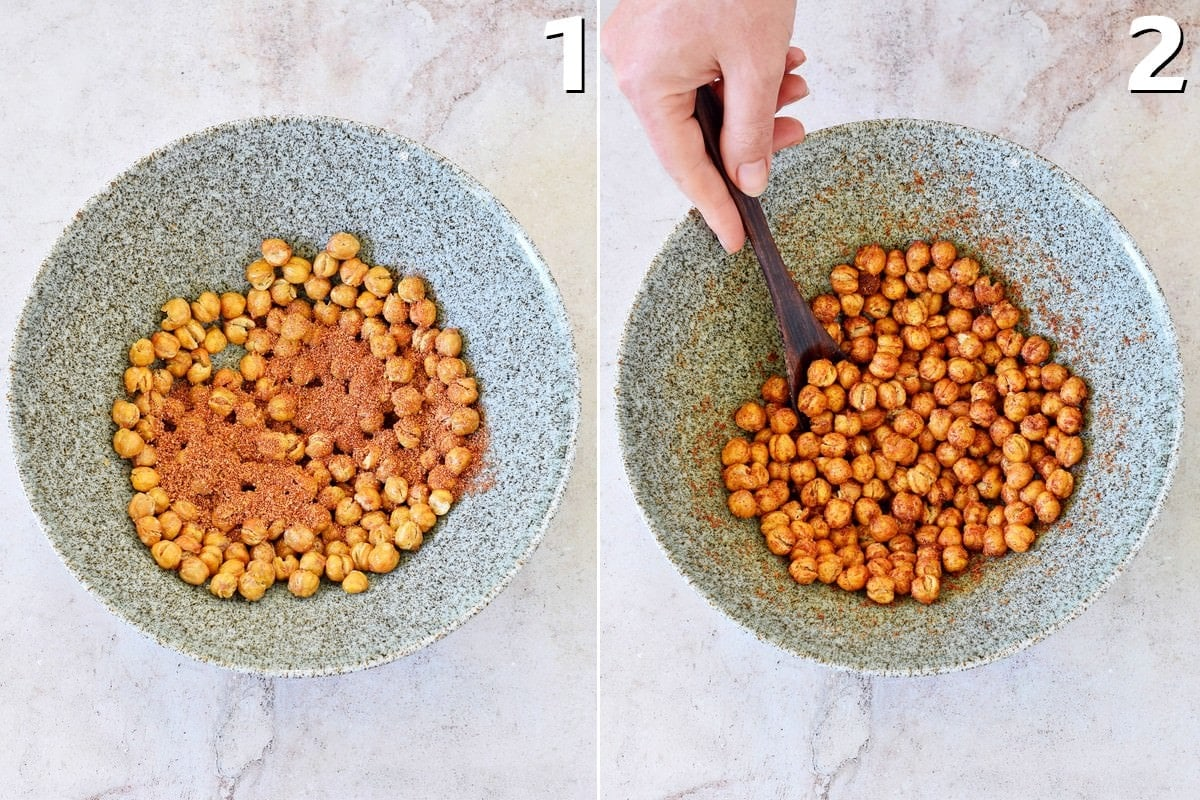 air-fried chickpeas tossed with spices before and after