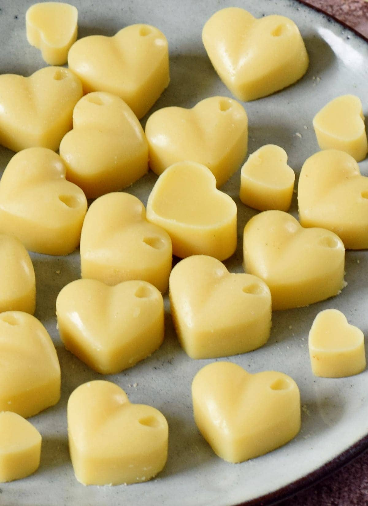 close up white chocolate hearts