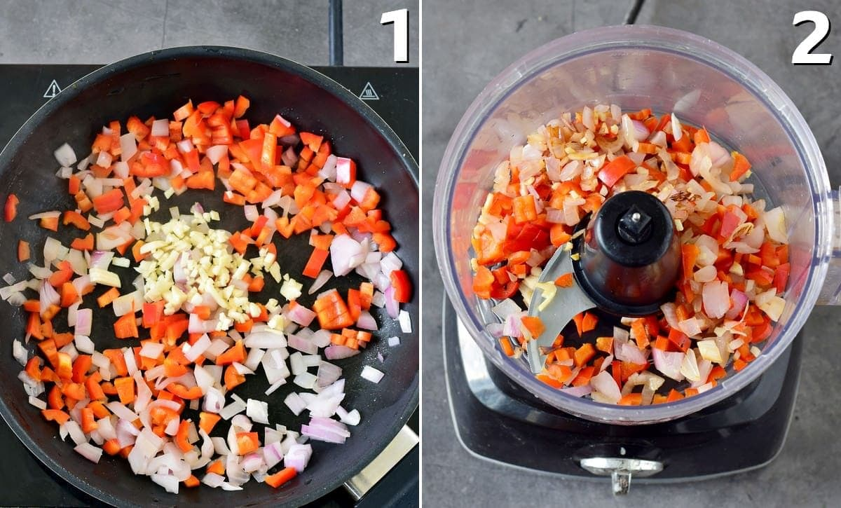 cooked veggies like pepper, onion, garlic in pan and food processor