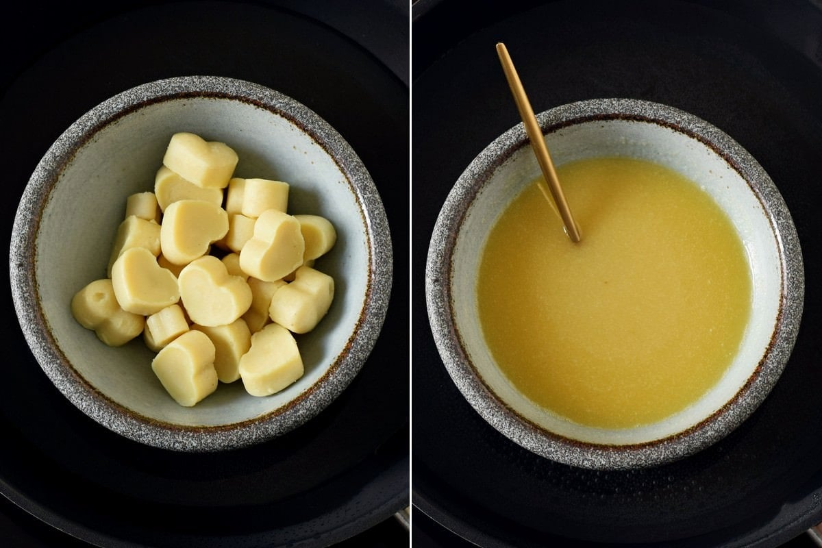 homemade white chocolate before after melting