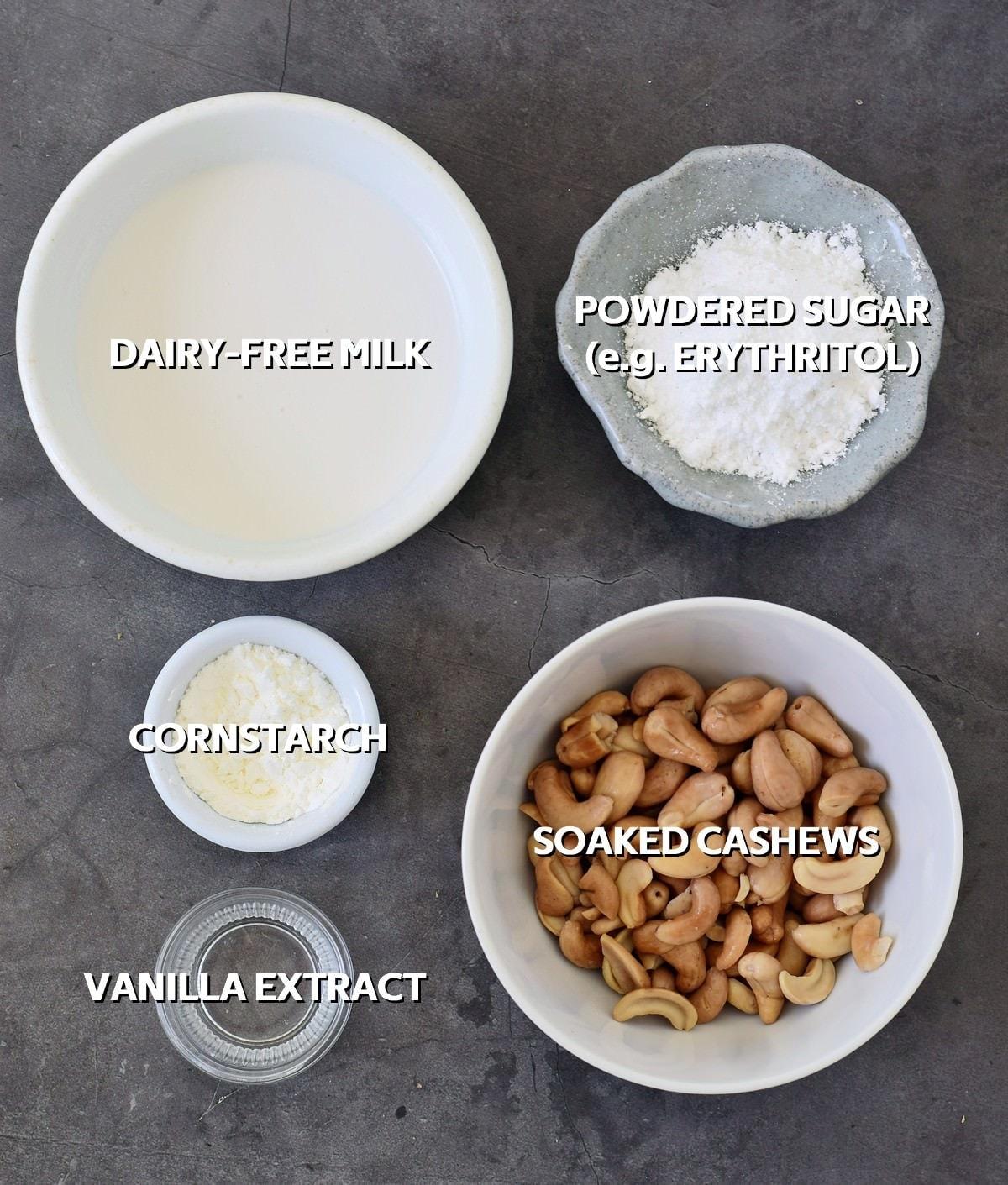 ingredients for vegan cashew frosting