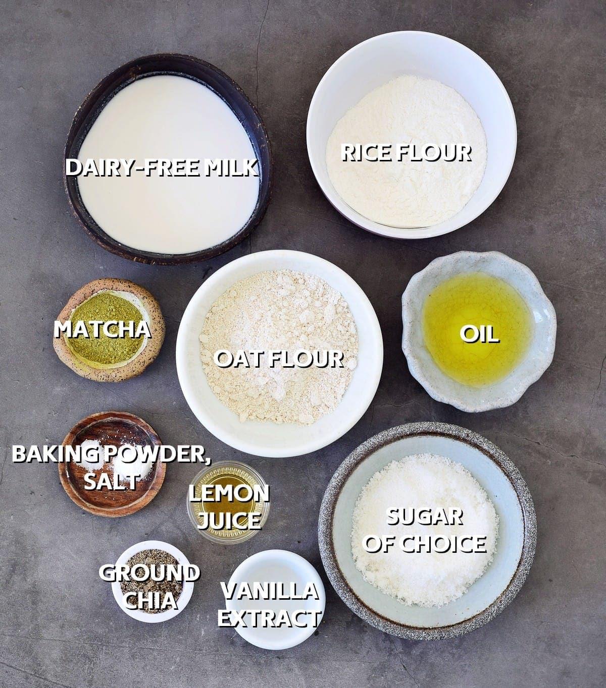 ingredients for vegan green tea muffins