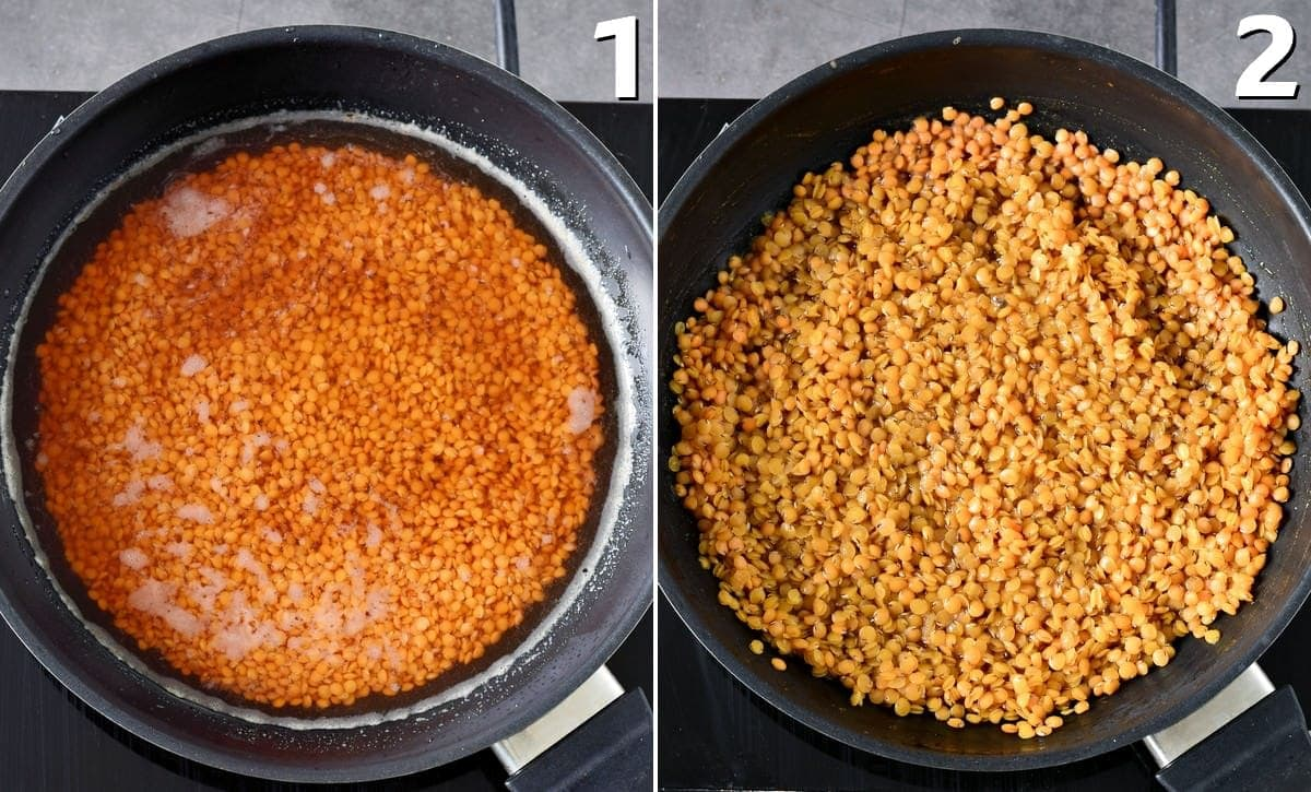 red lentils before and after cooking
