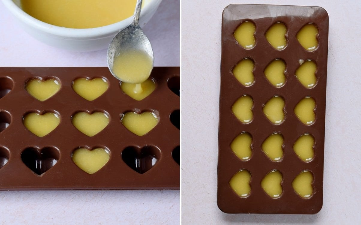 white chocolate filled into heart silicone mold
