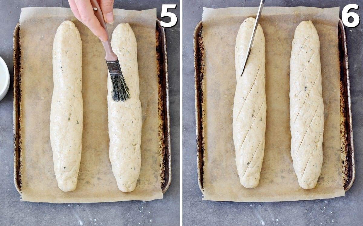 2 photos of gluten-free baguette before baking