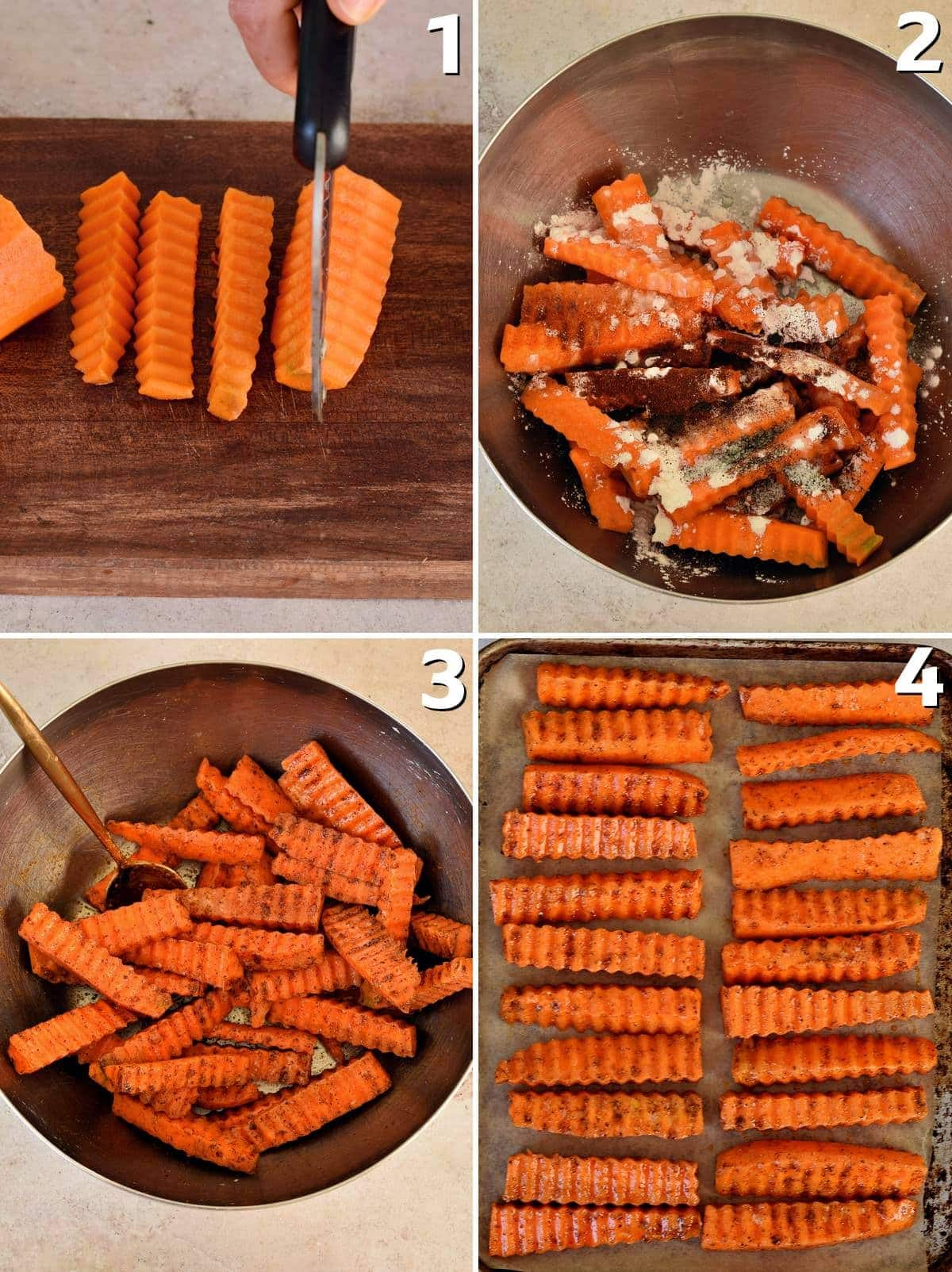 4 step-by-step photos how to cut and prepare carrots for oven