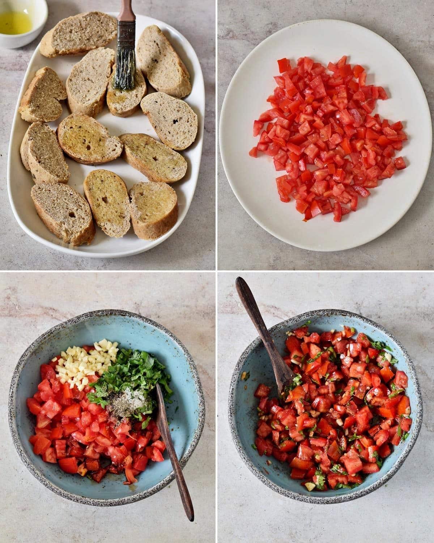 4 step-by-step photos how to make bruschetta