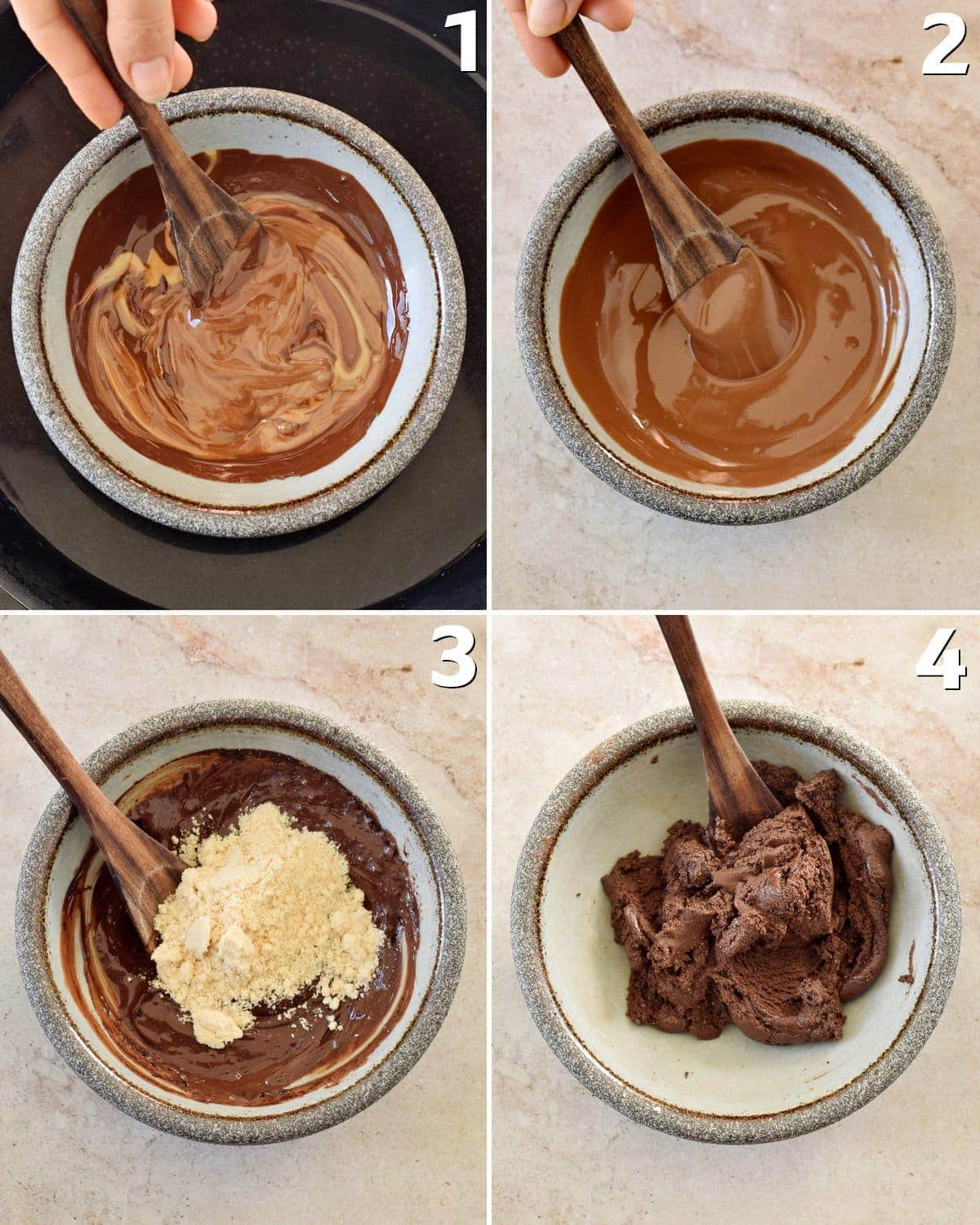 4 step-by-step photos how to make chocolate truffles in a bowl