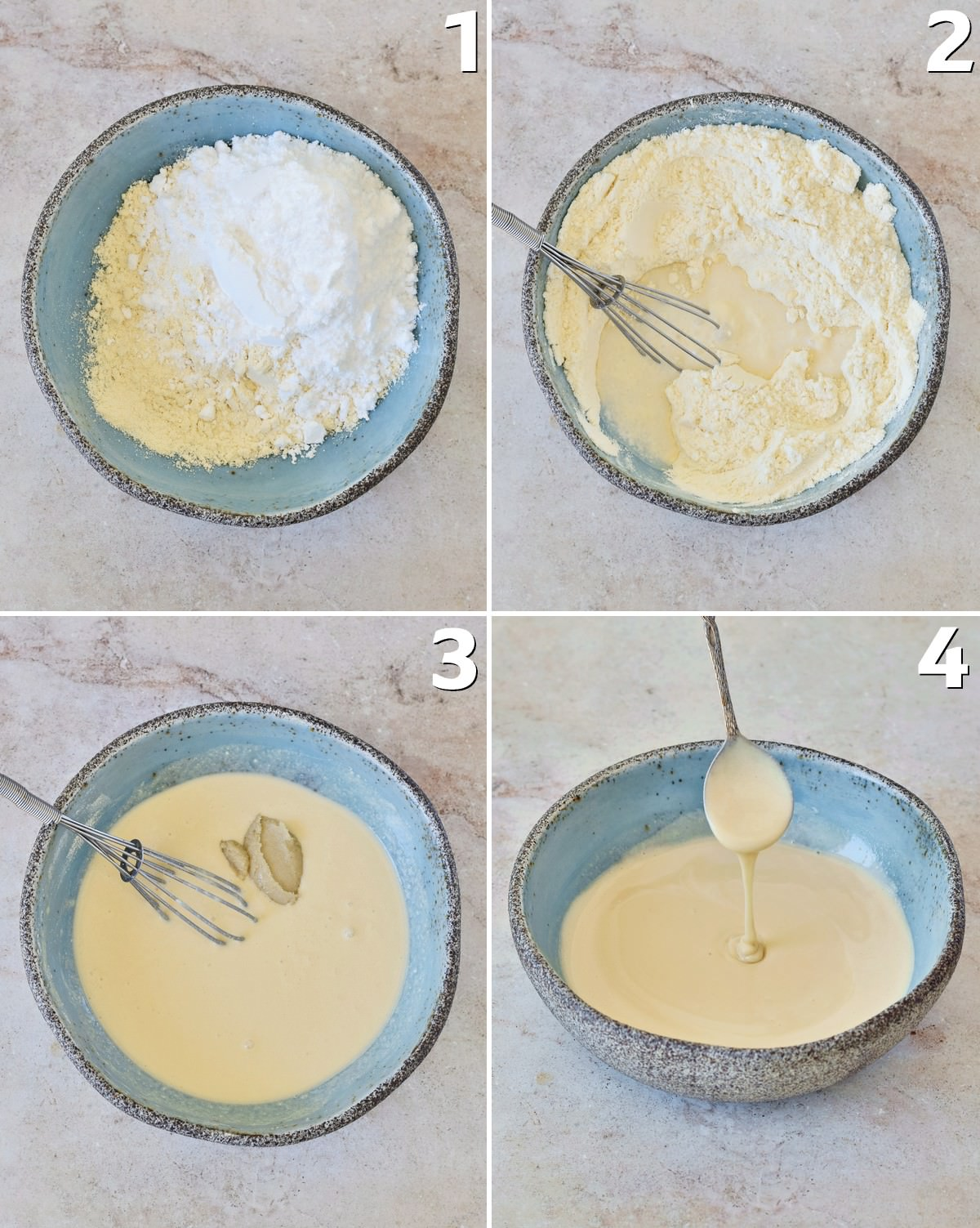 4 Schritt-für-Schritt-Fotos, wie man gezuckerte evaporated milk selber machen kann
