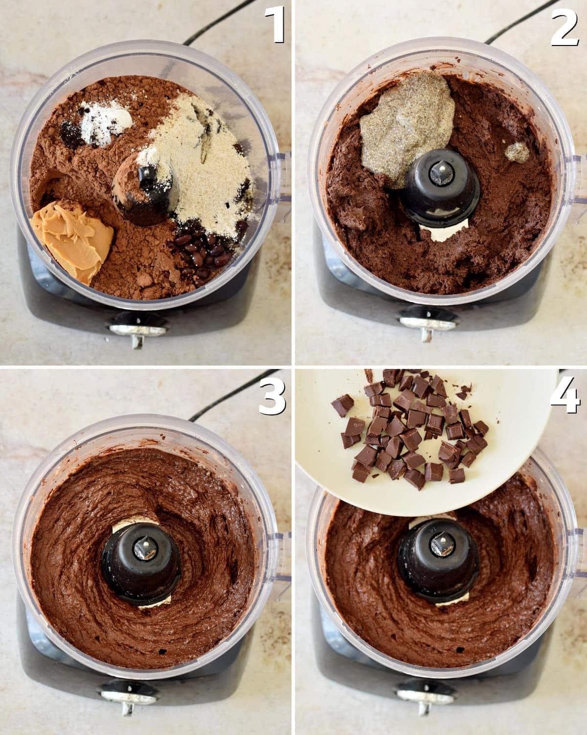 4 Schritt-für-Schritt-Fotos von der Verarbeitung von Brownie-Teig in einer Küchenmaschine