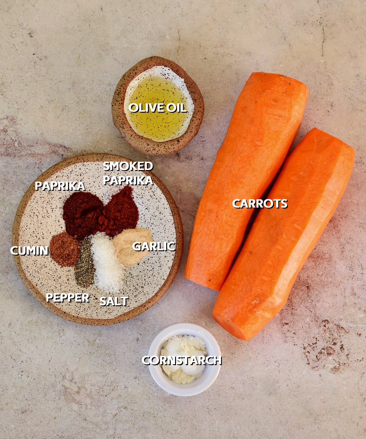 Ingredients for oven-baked sticks of carrots