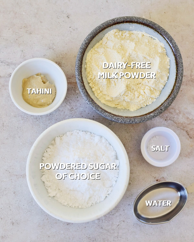Ingredients for sugar-free condensed milk