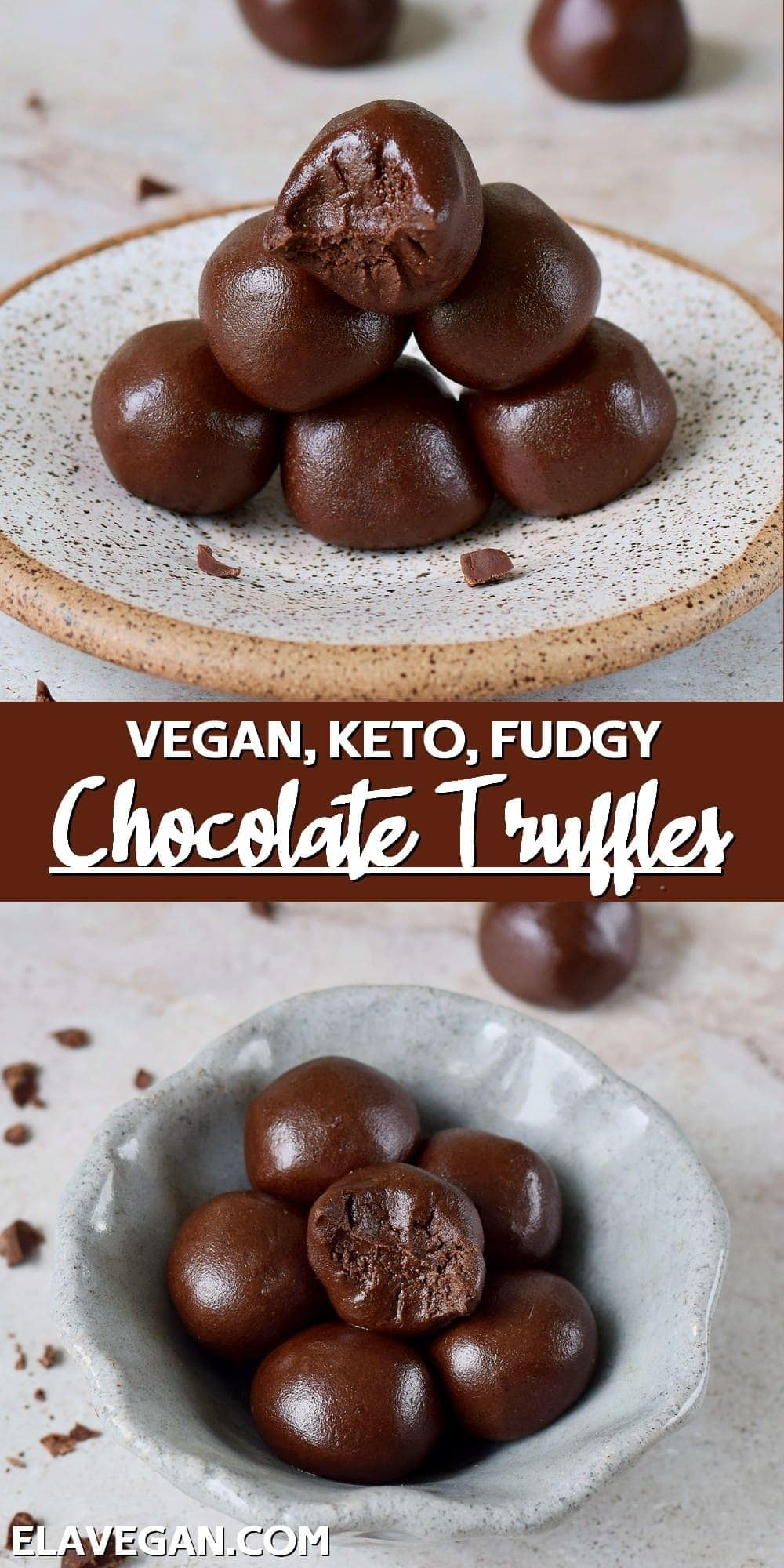Pinterest Collage Vegan Keto Fudgy Chocolate Truffles