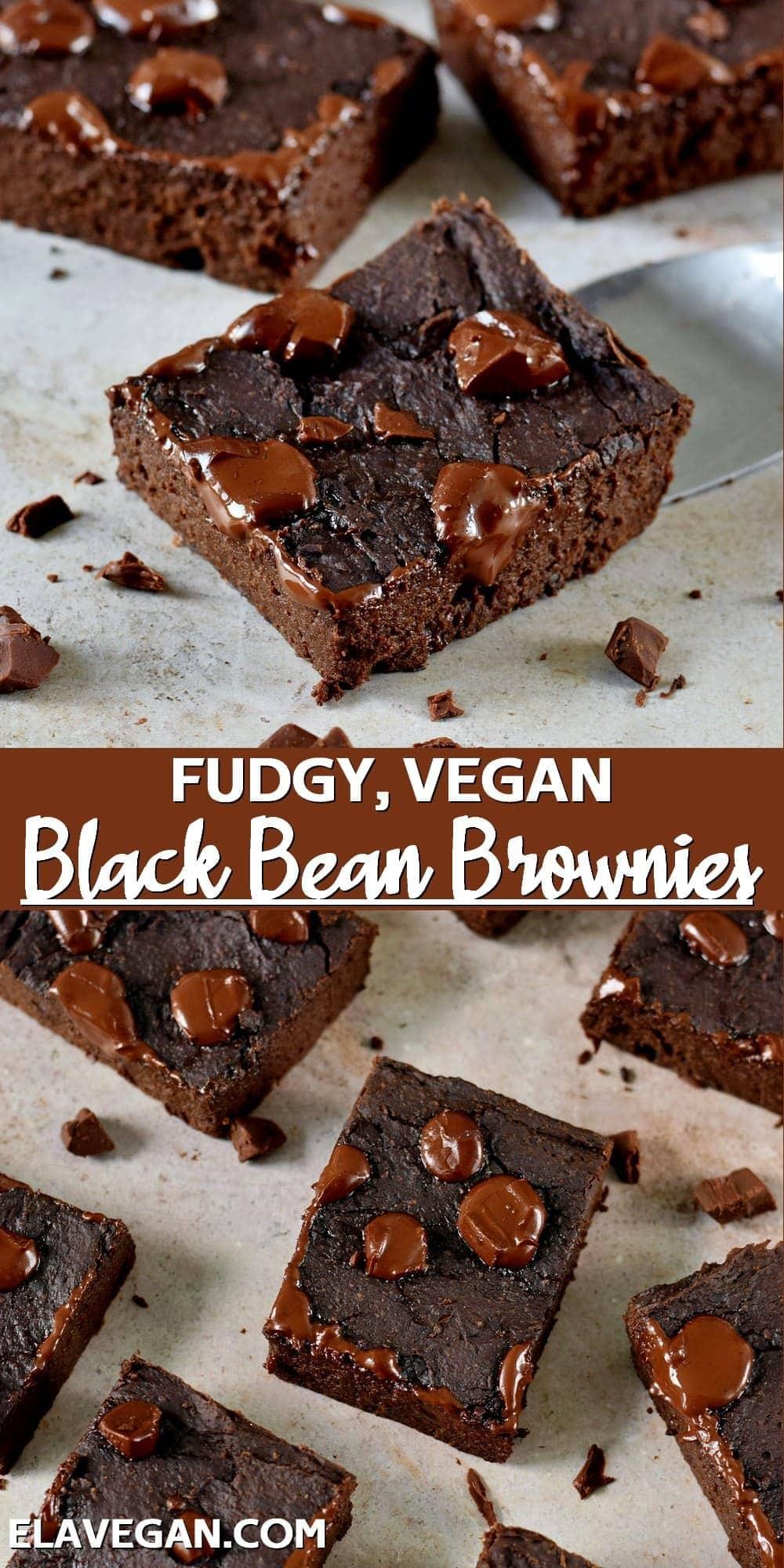 Pinterest collage fudgy vegan black bean brownies