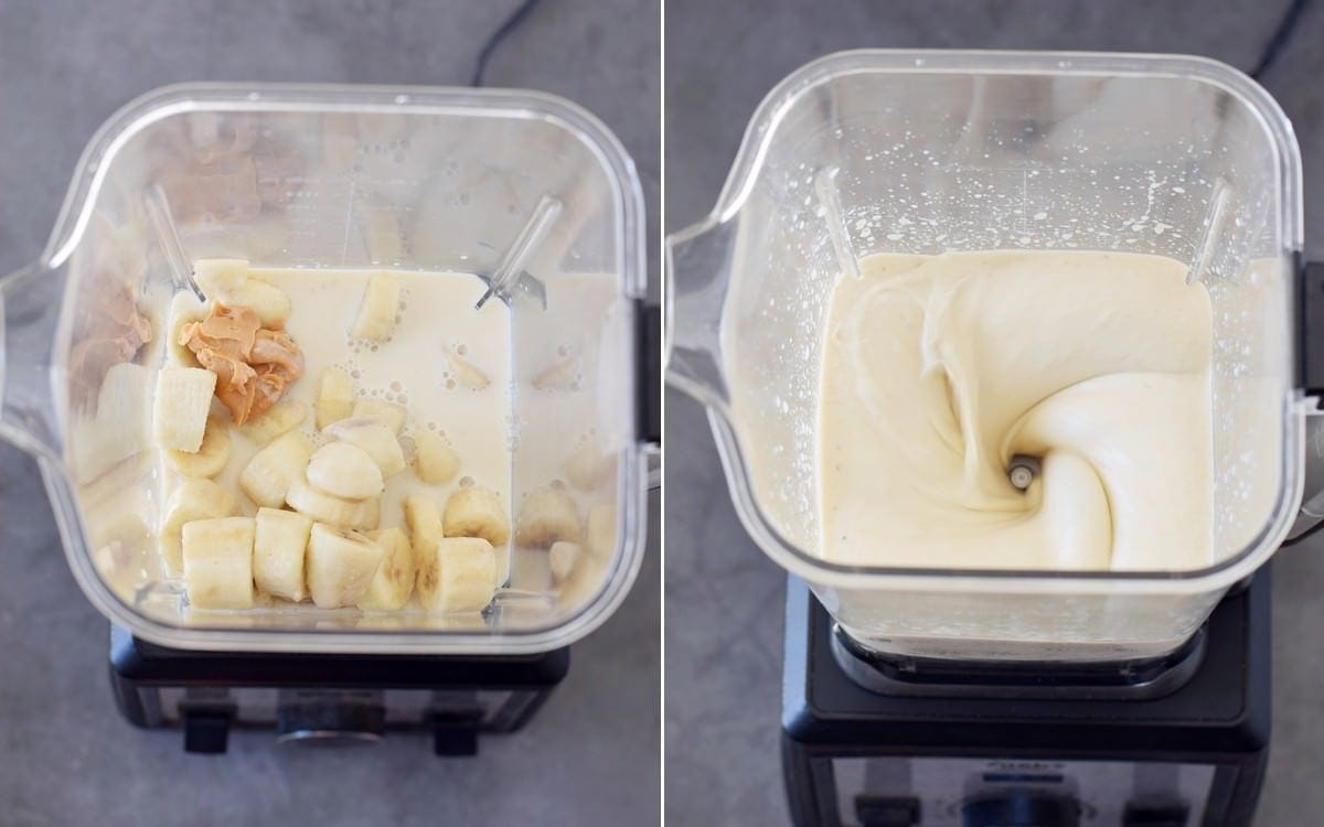 bananas, dairy-free milk, and peanut butter in blender before after blending
