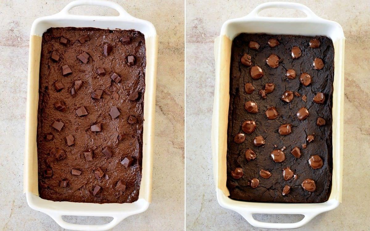Brownie-Teig in weißer eckiger Form vor und nach dem Backen