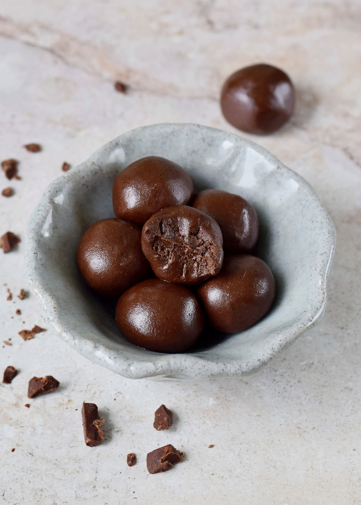 chocolate truffles in bowl