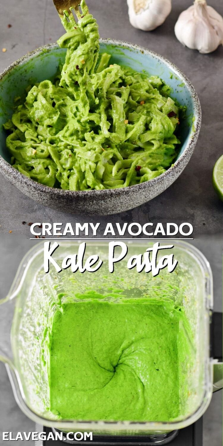 collage creamy avocado kale pasta