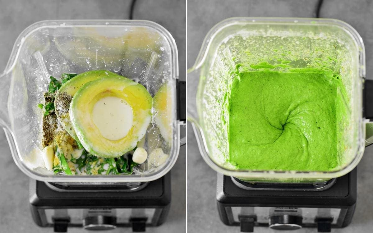 creamy green pasta sauce in blender before and after