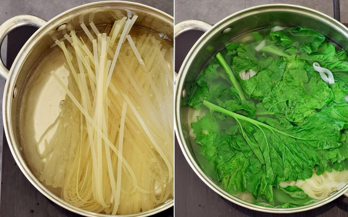 pasta cooking in a pot of water with kale