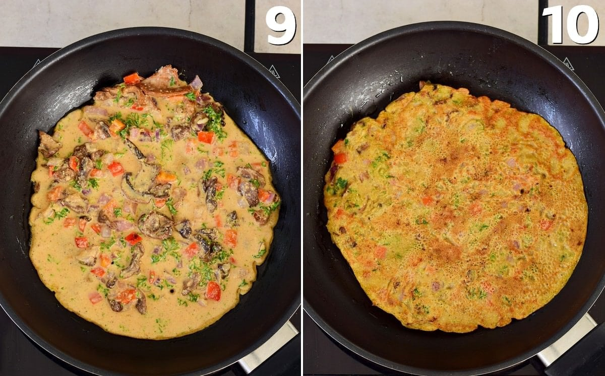 2 step-by-step photos how to cook a veggie omelet in a black pan