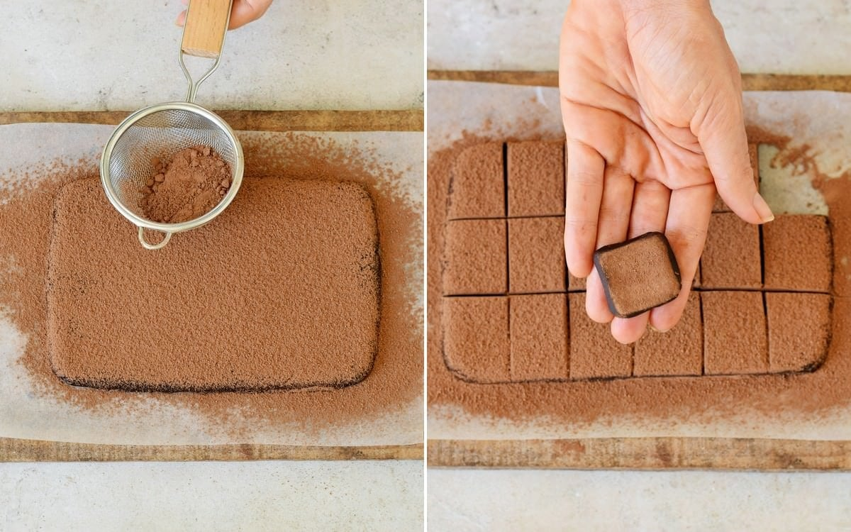 2 step-by-step photos how to dust truffle dough with cocoa powder