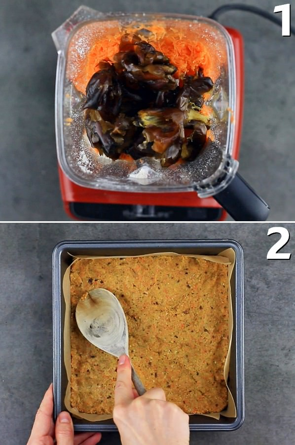 2 step-by-step photos how to make a dough with carrots
