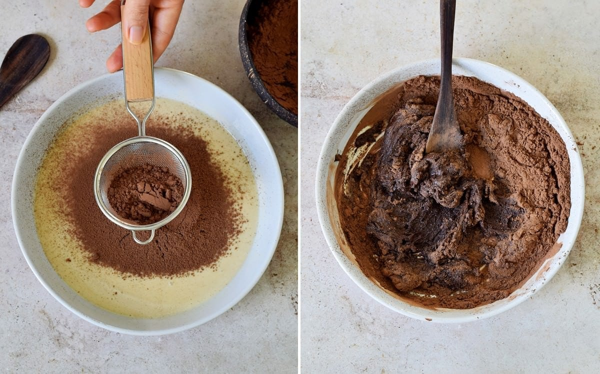 2 step-by-step photos how to make condensed milk chocolate truffles