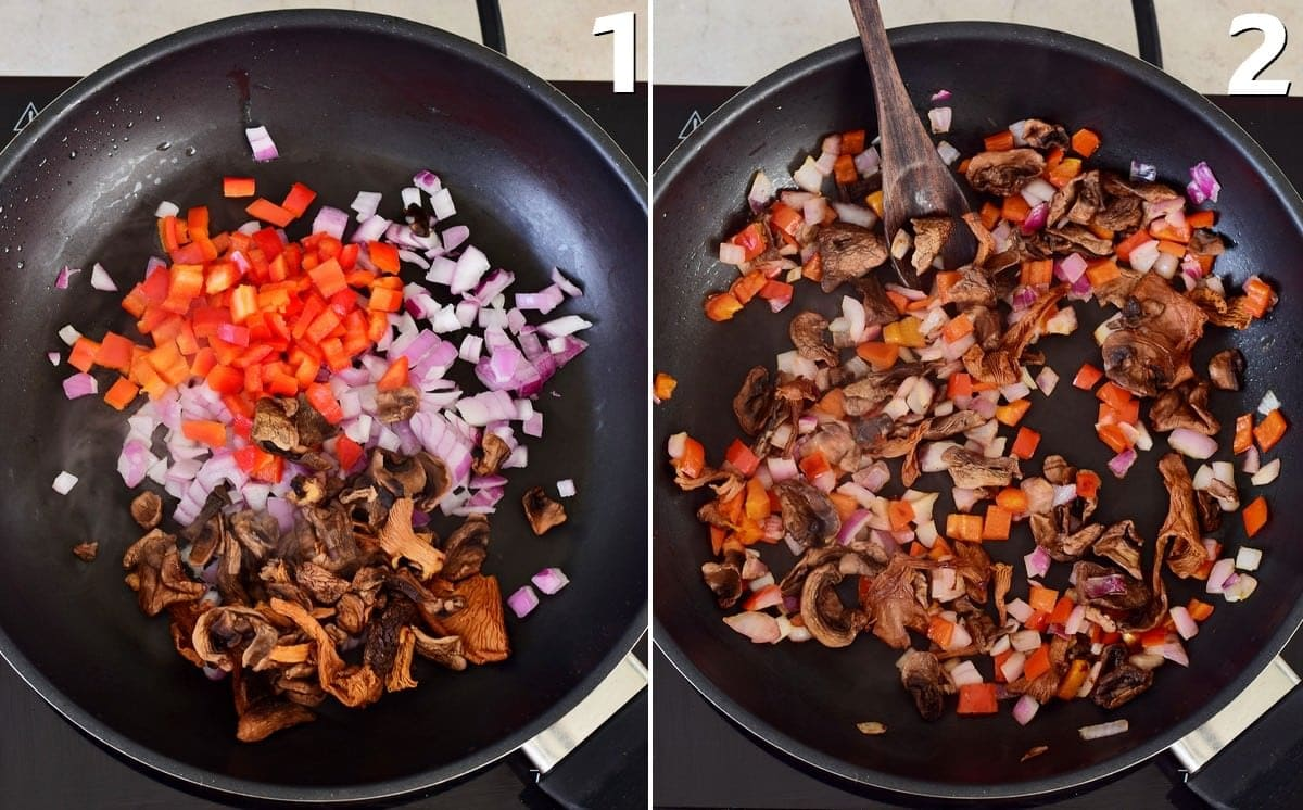 2 step-by-step photos how to saute vegetables in a black pan