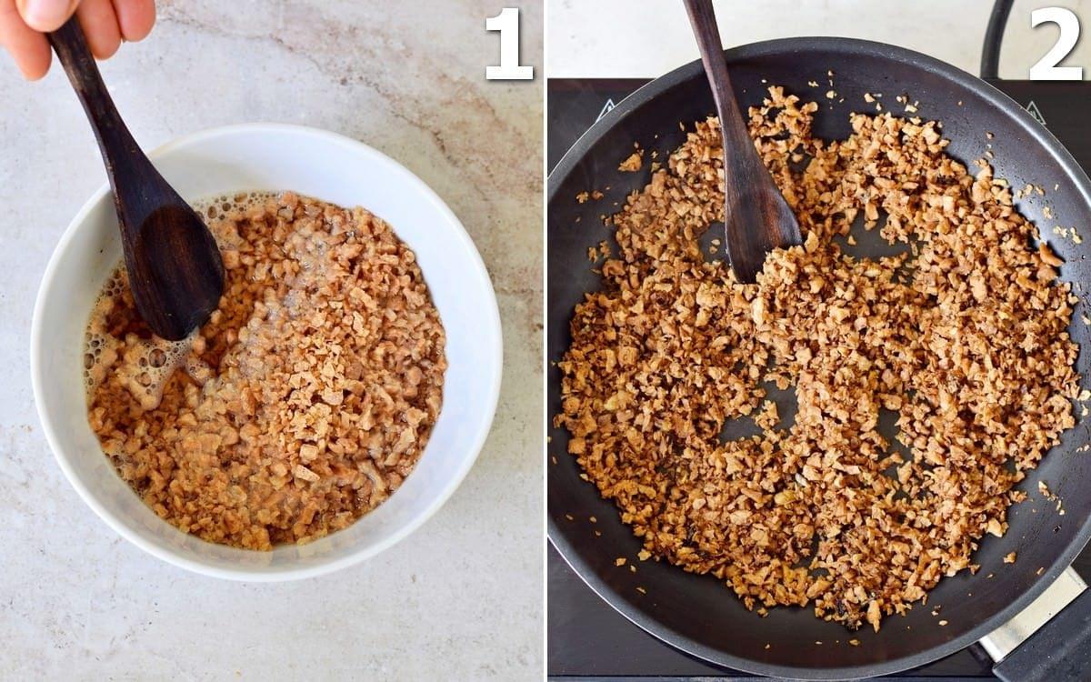 2 Schritt-für-Schritt-Fotos von veganem Hackfleisch in Schüssel und Pfanne