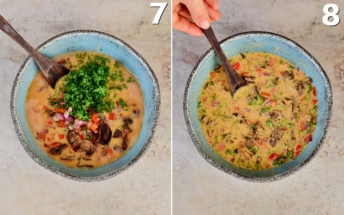 2 step-by-step pics of veggies in omelet batter in bowl before after stirring