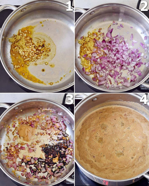4 Schritt-für-Schritt-Fotos, wie man vegane Ramen-Suppe in einem großen Topf kocht