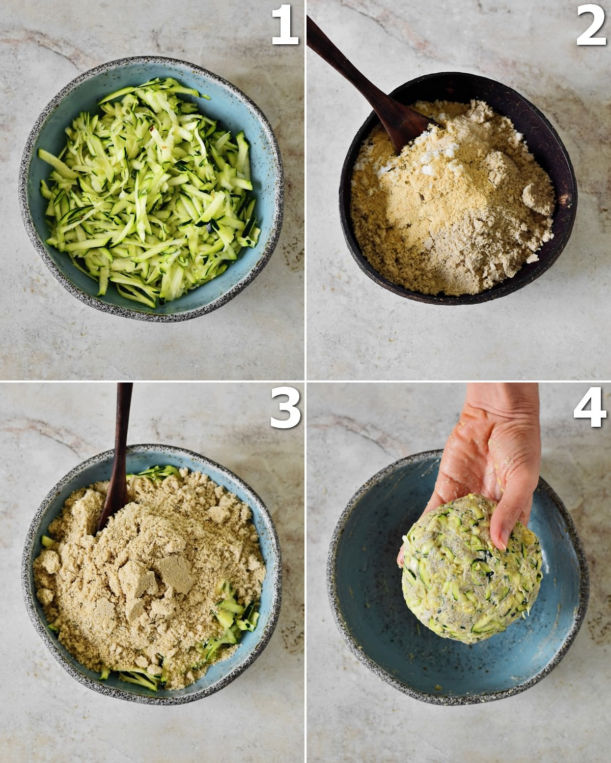 4 step-by-step photos how to make a low carb zucchini pizza crust