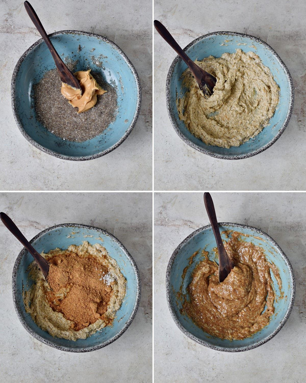 4 step-by-step photos of how to make a cookie batter