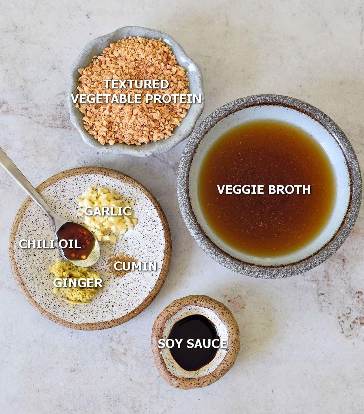 Ingredients for vegan mince