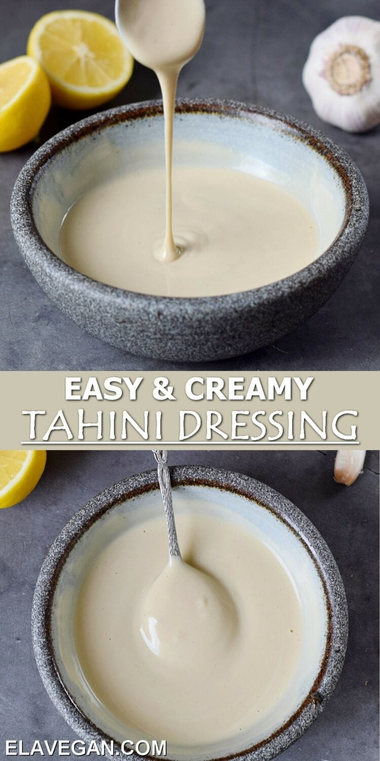 Pinterest Collage easy and creamy tahini dressing