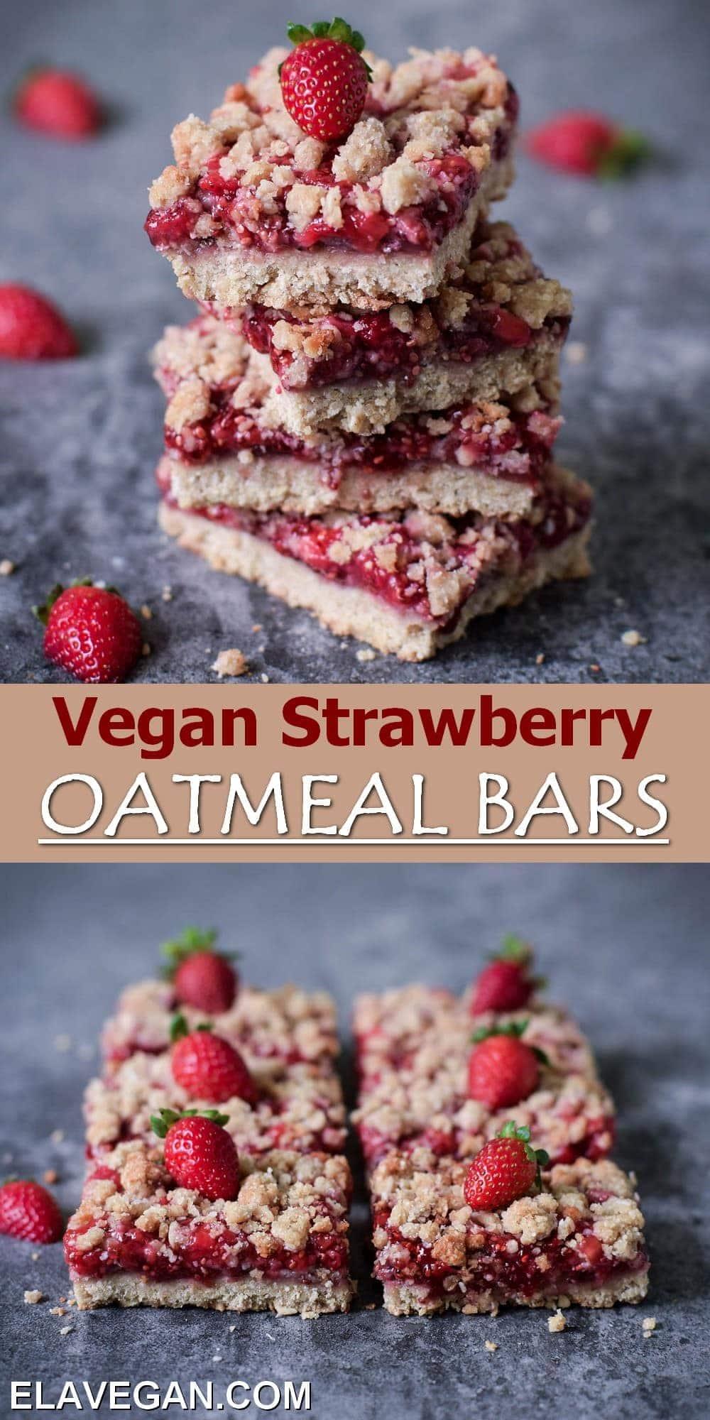 Pinterest Collage vegan Strawberry Oatmeal Bars