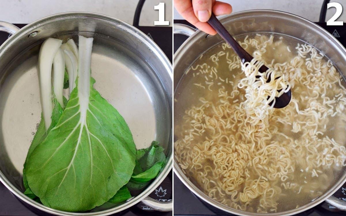 ein Topf mit Pak Choi und ein Topf mit Ramen-Nudeln in Kochwasser
