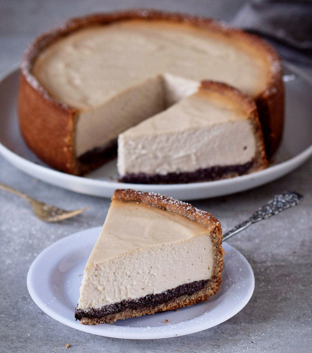 dairy-free cheesecake with slice on a plate