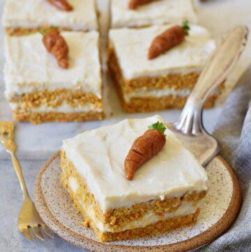 moist vegan carrot cake on small plate