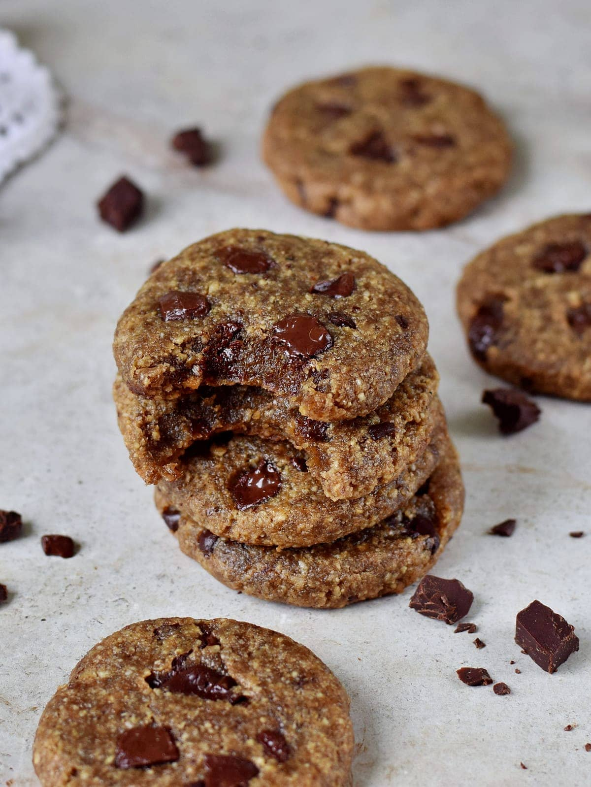 stack of coconut sugar cookies with chocolate
