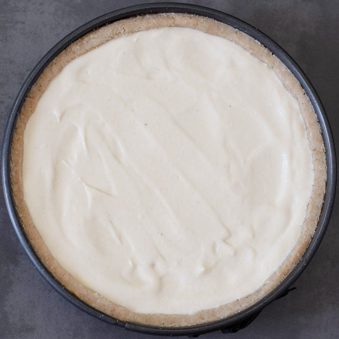 vegan tofu cheesecake on gluten-free crust in springform
