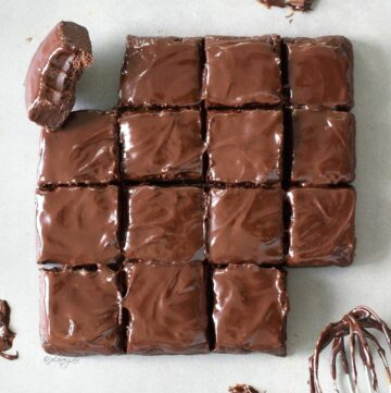 15 square no bake brownies one with bite marks